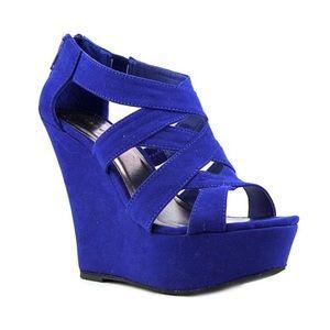 MADDEN GIRL Blue Suede Wikke Platform Wedge Sandal